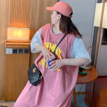 Women's large Summer 2020 Light grey, green, pink, old grey Large XL, large XXL, large XXL, large XXXXL, large XXXXL T-shirt Fake two pieces Sweet easy thin Socket Short sleeve Crew neck Medium length cotton MX-T5777 Other / other 18-24 years old