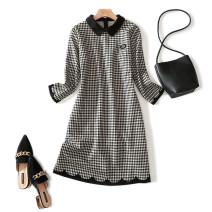 Dress Autumn 2020 khaki L,XL,2XL,3XL,4XL Middle-skirt singleton  Nine point sleeve commute Doll Collar middle-waisted lattice Socket A-line skirt routine Type A Splicing 31% (inclusive) - 50% (inclusive) brocade cotton