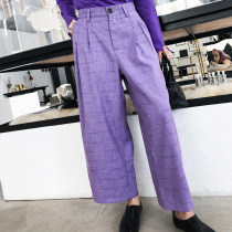 Casual pants violet 0, 2 Autumn of 2018 trousers Wide leg pants Natural waist street Thin money M0087