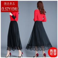 skirt Winter of 2019 One size fits 80-140 Jin Black, coffee, dark green, black skirt length 80 cm, coffee skirt length 80 cm, dark green skirt length 80 cm Mid length dress Versatile High waist Pleated skirt Solid color Type A 25-29 years old D3800D07 other Pleats, lace