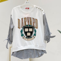 T-shirt white L,XL,2XL Spring 2021 three quarter sleeve Crew neck easy Medium length raglan sleeve commute cotton 86% (inclusive) -95% (inclusive) Korean version Letters, color matching, splicing Printed, stitched, beaded
