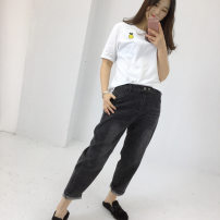 Women's large Spring 2020 Large XL, large 2XL, large 3XL, large 4XL trousers singleton  commute Straight cylinder moderate Solid color Korean version Polyester, cotton, others Button 81% (inclusive) - 90% (inclusive) Ninth pants