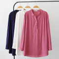 Women's large Autumn of 2019 White, Navy, fuchsia Big 2XL, big 3XL, big 4XL shirt singleton  commute easy moderate Socket Long sleeves Solid color Korean version V-neck Medium length Cotton, others routine Button 96% and above