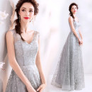 Dress / evening wear Company annual meeting performance S XS M L XL XXL XXXL silver gray grace longuette middle-waisted Spring of 2019 Self cultivation Deep collar V Bandage 18-25 years old 1161A Sleeveless Nail bead Princess tribe Polyethylene terephthalate (polyester) 100% 96% and above Sequins
