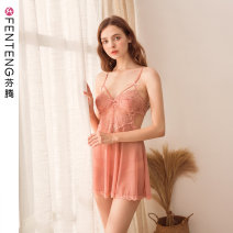 Nightdress Finthen  155(S) 160(M) 165(L) 170(XL) 175(XXL) sexy camisole pajamas Short skirt summer Solid color youth nylon 81% (inclusive) - 95% (inclusive) Summer of 2019 Polyamide fiber (nylon) 90% polyurethane elastic fiber (spandex) 10% Same model in shopping mall (sold online and offline)