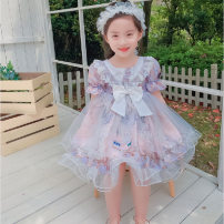 Dress Purple Pink female Maidou story 7 / M (recommended height 100cm), 9 / L (recommended height 110cm), 11 / XL (recommended height 120cm), 13 / XXL (recommended height 130cm) Other 100% summer princess Short sleeve Solid color Cotton blended fabric Princess Dress Class B