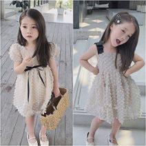 Dress Sling, short sleeve female Maidou story Other 100% summer Korean version Skirt / vest Solid color Cotton blended fabric Princess Dress Class B 2 years old, 3 years old, 4 years old, 5 years old, 6 years old, 7 years old, 8 years old