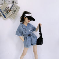 suit Maidou story As shown in the picture 7 (recommended height 95-100cm), 9 (recommended height 100-105cm), 11 (recommended height 105-115cm), 13 (recommended height 115-120cm), 15 (recommended height 120-130cm) summer Korean version Long sleeve + pants 2 pieces routine Single breasted nothing Denim