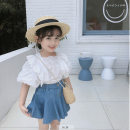 suit Maidou story White top, skirt 7 (recommended height 95-100cm), 9 (recommended height 100-105cm), 11 (recommended height 105-115cm), 13 (recommended height 115-120cm), 15 (recommended height 120-125cm) summer Korean version Short sleeve + skirt 2 pieces Thin money Official pictures Socket Class B