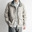 Jacket Other / other Youth fashion Rice ash M,L,XL,2XL routine standard Other leisure spring Long sleeves Wear out Lapel Japanese Retro youth routine Zipper placket 2020 other washing Splicing Three dimensional bag cotton More than 95%