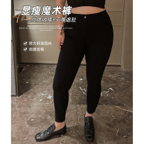 Women's large Spring 2021 black Large XL, 2XL, 3XL, 4XL, 5XL trousers singleton  commute easy moderate Solid color Simplicity other Collage Qbxx studio / pencil Xiaoxin pocket 51% (inclusive) - 70% (inclusive) trousers