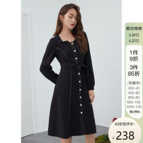 Dress Spring 2021 Black, green XS,S,M,L,XL longuette singleton  Long sleeves commute square neck High waist other Socket A-line skirt routine Others 25-29 years old Type A Van schlan Retro 91% (inclusive) - 95% (inclusive) other polyester fiber