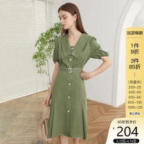 Dress Summer 2020 Black, forest green XS,S,M,L,XL Mid length dress singleton  Short sleeve commute V-neck High waist Solid color Single breasted A-line skirt puff sleeve 25-29 years old Type X Van schlan Retro Frenulum Z200800 More than 95%