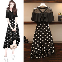 Women's large Summer 2020 black M suggests 80-100kg, l 100-120kg, XL 120-143kg, 2XL 145-168kg, 3XL 170-200kg Dress Two piece set easy thin Socket Short sleeve Dot, solid V-neck Polyester, cotton Three dimensional cutting other Gauze Medium length other bow