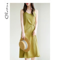 Dress Summer 2021 Green black champagne rose pink M L longuette singleton  Sleeveless commute V-neck Loose waist Solid color Socket A-line skirt other camisole 25-29 years old Type A Chartres Korean version fold C21AD906 More than 95% polyester fiber Polyester 100%