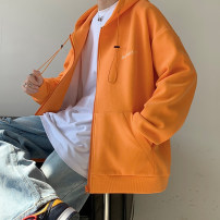 Sweater Youth fashion Zijun Apricot, black, blue, gray, orange, > Click to view size < (select color before) M,L,XL,2XL Solid color Cardigan routine Hood spring easy leisure time teenagers tide routine cotton No iron treatment Side seam pocket zipper