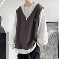 Sweater Youth fashion Zijun M,L,XL,2XL Solid color Socket routine Crew neck autumn easy leisure time teenagers tide routine polyester cotton cotton Splicing No iron treatment More than 95% Japanese and Korean style Socket