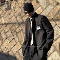 man 's suit Black, > Click to view size < (select color in front) Zijun Youth fashion routine M,L,XL easy Multi grain single breasted Other leisure Double slit teenagers Long sleeves spring routine tide Straight hem Solid color