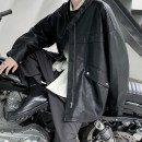 Jacket Zijun Youth fashion Off white, black, > Click to view size < (select color in front) S,M,L,XL,2XL routine easy Other leisure autumn Long sleeves Wear out tide teenagers routine Zipper placket 2020 other Loose cuff PU leather