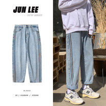 Jeans Youth fashion Zijun M,L,XL,2XL Light blue, > Click to view size < (select color in front) routine trousers Other leisure spring teenagers Loose straight tube tide Straight foot