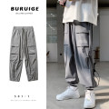 Casual pants Zijun Youth fashion Black, gray, black plush, gray plush, > Click to view the size < (select the color before) M,L,XL,2XL routine Ninth pants Other leisure easy Micro bomb summer teenagers tide 2020 Medium low back Straight cylinder No iron treatment other