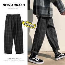 Casual pants Zijun Youth fashion dark grey , khaki ,> Click to view size < ( Select color in front ) M,L,XL,2XL routine trousers Other leisure easy Micro bomb winter teenagers tide 2020 middle-waisted Little feet Haren pants No iron treatment lattice cotton