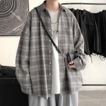 shirt Youth fashion Zijun M,L,XL Gray, black, blue, > Click to view size < (select color in front) routine Pointed collar (regular) Long sleeves easy Other leisure spring teenagers like a breath of fresh air 2021 lattice