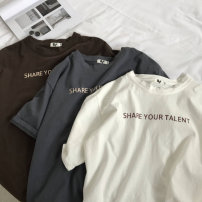 T-shirt Youth fashion White, gray, brown, > Click to view size < (select color in front) routine M,L,XL,2XL Zijun Short sleeve Crew neck easy daily summer teenagers routine tide 2020 Alphanumeric printing cotton