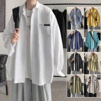 shirt Youth fashion Zijun M,L,XL Black, white, gray, yellow, light green, army green, light blue, lake blue, dark blue, > Click to view the size < (select the color in front) routine Pointed collar (regular) Long sleeves easy Other leisure spring teenagers tide 2021 Solid color