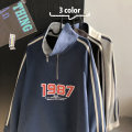 Sweater Youth fashion Others Gray, black, blue, > Click to view size < (select color in front) S,M,L,XL,2XL Geometric pattern Socket routine stand collar spring easy leisure time youth tide routine cotton printing Save pocket zipper