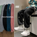 Casual pants Zijun Youth fashion Black, gray, light green, pink, royal blue, > Click to view size < (select color in front) M,L,XL,2XL routine trousers Other leisure easy No bullet autumn teenagers tide 2020 middle-waisted Straight cylinder Sports pants washing Solid color cotton
