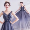 Dress / evening wear Wedding adult party company annual meeting performance XS S M L XL XXL XXXL blue sexy longuette middle-waisted Spring 2020 Fall to the ground Deep collar V Bandage 18-25 years old Sleeveless Embroidery Bridal Beauty Polyethylene terephthalate (polyester) 100% 96% and above