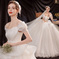Wedding dress Winter 2020 white S XS M L XL XXL XXXL Korean version Fluffy skirt Bandage Hotel Interior One shoulder Netting Three dimensional cutting middle-waisted 18-25 years old Sleeved shawl Bridal Beauty Pure e-commerce (online only) Polyethylene terephthalate (polyester) 100% 96% and above