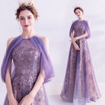 Dress / evening wear Wedding adult party company annual meeting performance XS S M L XL XXL XXXL violet fashion longuette middle-waisted Spring 2020 Self cultivation One shoulder Bandage 18-25 years old Long sleeves Embroidery Bridal Beauty Polyethylene terephthalate (polyester) 100% 96% and above