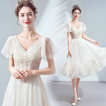 Dress / evening wear Wedding adult party company annual meeting performance XS S M L XL XXL XXXL Champagne Simplicity Middle-skirt middle-waisted Summer of 2019 A-line skirt Deep collar V Deep V style 18-25 years old Sleeveless Bridal Beauty Polyethylene terephthalate (polyester) 100% 96% and above
