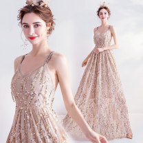 Dress / evening wear Wedding adult party company annual meeting performance XS S M L XL XXL XXXL golden fashion longuette middle-waisted Summer of 2019 Self cultivation Sling type zipper 18-25 years old 2217A Sleeveless Nail bead Bridal Beauty Polyethylene terephthalate (polyester) 100% 96% and above