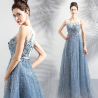 Dress / evening wear Wedding ceremony company annual meeting performance XS S M L XL XXL XXXL Fog blue fashion longuette middle-waisted Summer of 2018 Fall to the ground One shoulder zipper 18-25 years old Sleeveless Embroidery Bridal Beauty Polyester 100% Pure e-commerce (online only)