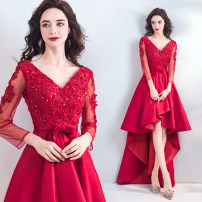 Dress / evening wear Wedding adult party company annual meeting performance XS S M L XL XXL XXXL gules fashion Medium length middle-waisted Summer of 2018 A-line skirt Deep collar V Bandage 18-25 years old three quarter sleeve Diamond ornament Bridal Beauty other Polyester 100% Resin drill