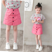 skirt 110cm,120cm,130cm,140cm,150cm,160cm Rose (T-shirt + skirt), T-shirt (single piece), skirt (single piece) Other / other female Other 100% summer Miniskirt leisure time Solid color A-line skirt cotton K90425