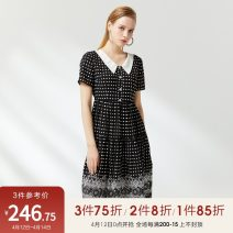 Dress Summer 2020 black 36/S/160,38/M/165,40/L/170 Mid length dress singleton  Short sleeve middle-waisted Dot Socket A-line skirt routine 25-29 years old Type A Peoleo / piaoyei Button, button