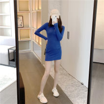 Dress Autumn 2020 Blue skirt Average size Short skirt singleton  Long sleeves commute Polo collar High waist Solid color Single breasted One pace skirt routine 18-24 years old Button 51% (inclusive) - 70% (inclusive) other