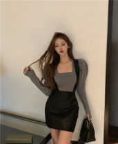 skirt Winter 2020 Average size Grey dress, black leather skirt s, Black Leather Skirt M Short skirt commute High waist A-line skirt Solid color Type A 25-29 years old polyester fiber zipper