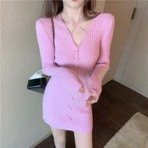 Dress Winter 2020 Blue, pink Average size Short skirt singleton  Long sleeves commute High waist 18-24 years old Korean version 510#