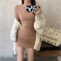 Dress Autumn 2020 Khaki, black Average size Short skirt singleton  Long sleeves commute Half high collar High waist Solid color Socket One pace skirt routine 18-24 years old Pleating 51% (inclusive) - 70% (inclusive) other