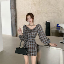 Dress Autumn 2020 Picture color S, M Short skirt singleton  Long sleeves commute One word collar High waist lattice One pace skirt routine Breast wrapping 25-29 years old T-type Korean version M783