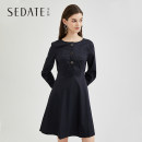 Dress Autumn of 2019 S M L XL XXL Middle-skirt singleton  Long sleeves commute Crew neck High waist Solid color Three buttons Big swing routine 25-29 years old Type X Sedate lady Tie button 31% (inclusive) - 50% (inclusive) cotton