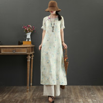 Dress Summer 2021 Khaki, khaki + sling + 20 yuan M,L,XL Mid length dress singleton  Short sleeve commute Crew neck Loose waist Decor Socket A-line skirt routine 40-49 years old Type A literature Button, print More than 95% hemp