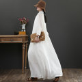 Dress Summer 2020 White, white plus 20 yuan, sling half buy half free M, L longuette singleton  three quarter sleeve commute Scarf Collar Loose waist Solid color Socket Irregular skirt routine 40-49 years old Type A September Kaka Retro More than 95% hemp