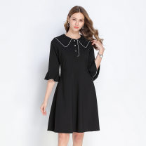Women's large Summer 2021 black 3XL,4XL,5XL,L,XL Dress commute Solid color other polyester pagoda sleeve Chaoyi nationality 30-34 years old fungus 91% (inclusive) - 95% (inclusive) other zipper other
