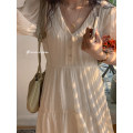 Dress Spring 2021 Beige XXS,XS,S,M Mid length dress Short sleeve Sweet V-neck High waist Solid color Three buttons A-line skirt puff sleeve 18-24 years old Type A D21-174 More than 95% Chiffon polyester fiber
